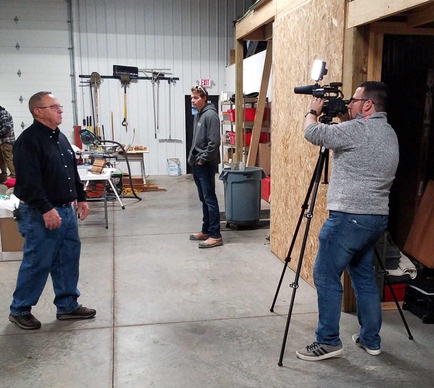 Blaine Kellermeier is interviewed by Fox17 Grand Rapids during a trade night for local youth.