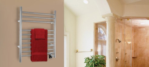 A warming towel rack is just one aspect your Kellermeier bathroom remodeler can include in your project.