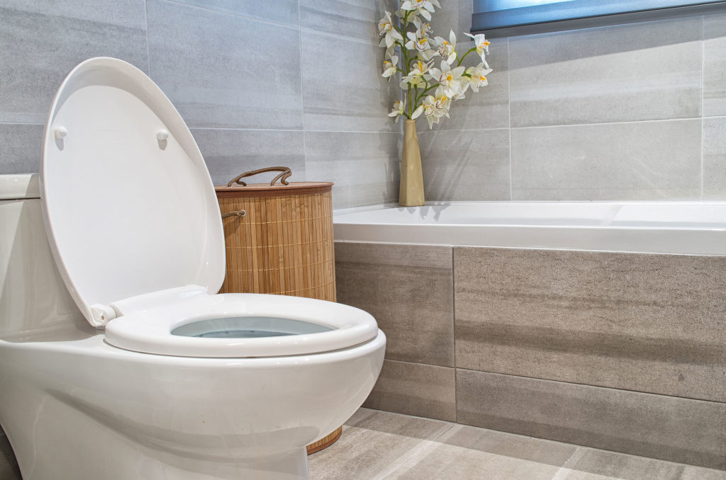 A new toilet replacement project in a modern bathroom