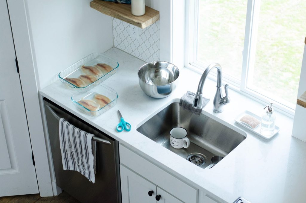 Drain flies often result in messay kitchen sinks, or anywhere with shallow, standing water. A kitchen sink with a coffee mug in it and fish fillets on the counter.